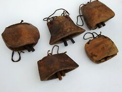 Lot Of 25 Pcs Antique 1900's Vintage Wooden Cow Bell Hand Carved Collectible Art
