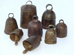 Lot Of 25 Antique 1900's Vintage Metal Cow Bell Hand Carved Collectible Art