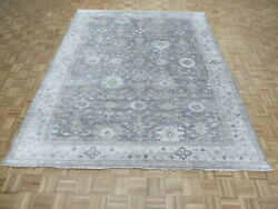 8'1 X 10'2 Hand Knotted Gray Turkish Bamboo Silk Oushak Oriental Rug G9417