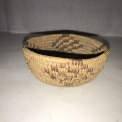 Small Geometric Coiled Basket California Mission Cahuilla Indian Style 4'dia