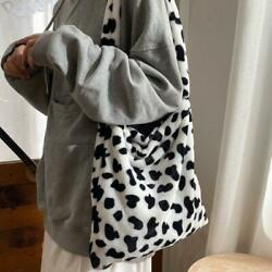 Retro Cow Print Plush Women Fashion Big Capacity Shoulder Handbag Cross Bags a a $9.10