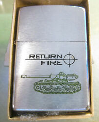 Vintage Rare 1996 Excellent Condition Army Tank Return Fire Zippo Lighter Nice