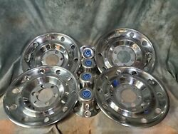 4 Gm Stainless Steel Simulators W/4 6 Lug Center Caps Gmc Chevy Cadillac
