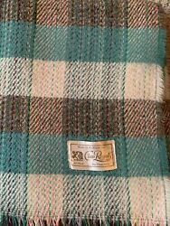 """VINTAGE FROM SCOTLAND ALL WOOL THROW BLANKET CLAN ROYAL 64""""x57"""""""