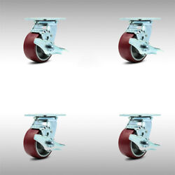 4 Inch Ss Poly On Aluminum Caster Set With Ball Bearings And Brake/swivel Lock