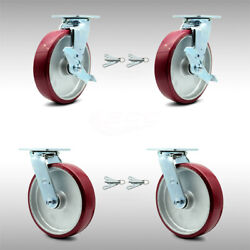 8andrdquo Ss Poly On Aluminum Caster W/bb Andndash 2 Swvl W/top Brkandbsl And 2 Swvl W/bsl - Scc