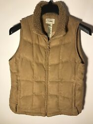 L L Bean Womenandrsquos Size M Goose Down Quilted Vest Jacket With Sherpa Lined Collar