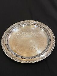 Wm Rogers And Son Silver Plate Spring Flower Pattern Serving Tray 2070