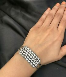 Handmade Brand New Rosecut Diamond Bracelet With Chain In 925 Sterling Silver