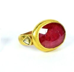 New Antique Mughal Style 22k Gold Ring With Ruby And Polki Diamond Size 6