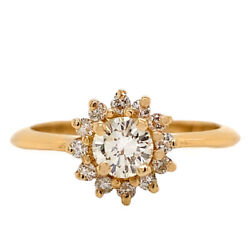 14k Yellow Gold Diamond Halo Ring 0.70ctw 3.3 Grams Excellent Condition