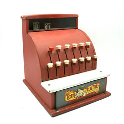 Vintage Tom Thumb Toy Cash Register Red With Graphics On Drawer Works Bell Rings