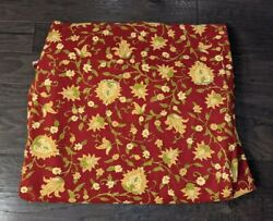 Pottery Barn Linen Blend Vanessa Palampore Red Gold Floral King Duvet Cover