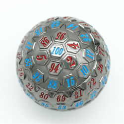 Black Metal Single 100 Sided Polyhedral Dice D100   Blue + Red Color 45mm