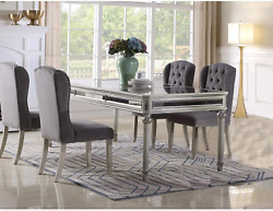 Best Master Emory Solid Wood Dining Room Table In Antique Cream With Mirrored