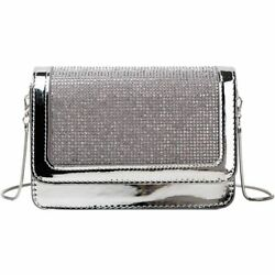 Hasp Diamonds Shoulder Chain Bag Women Leather Party Crossbody Clutch Handbags $38.65