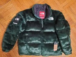 Supreme X The Faux Fur Nuptse Jacket Green L In Hand Ready To Ship