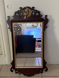 Vintage Chippendale Style Wall Mirror Mahogany Carved Bird Crest Gold Trim