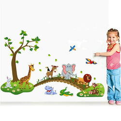 Removable Cartoon Forest Animal Wall Stickers Kids Room Decor DIY Home Art Decal