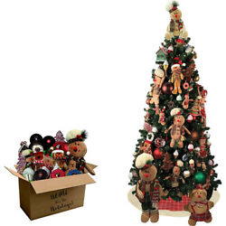 Fraser Hill Canyon Pine Tree And 152-piece Gingerbread Decoration Set - Fforngb-