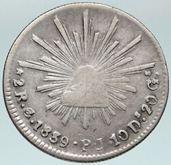 1839 Pj Mexico Spain Eagle And Liberty Cap Silver Antique 2 Reales Old Coin I87560