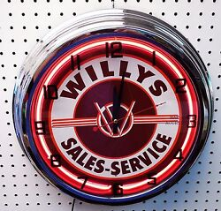 17 Willys Sales And Service Sign Single Neon Clock