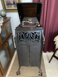 Antique Sonora Phonograph Early 1900and039s W/records Needs Work