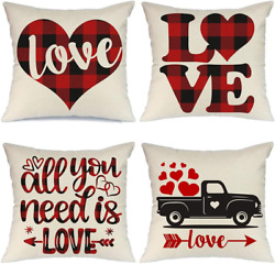 Valentines Day Throw Pillow Covers Home Decor Red Black Buffalo Check Heart 4pcs