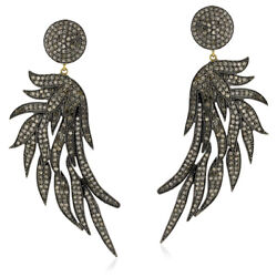 Feather Style Gold 925 Sterling Silver Diamond Dangle Earring Party Wear Jewelry