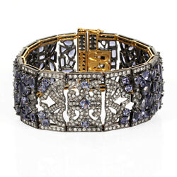 36.59ct Iolite Pave Diamond 18kt Solid Gold 925 Sterling Silver Bracelet Jewelry