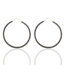 14kt Gold 12.18ct Pave Diamond Hoop Earrings .925 Sterling Silver Gift Jewelry