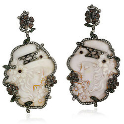 Carved Cameo 18k Gold Sterling Silver Ruby And Pave Diamond Antique Earrings Gift