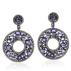Natural Iolite Diamond 18k Gold Silver Donut Style Dangle Earrings Jewelry Gift