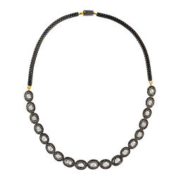 Classy Pave Diamond Gold 925 Silver Choker Box Chain Necklace Jewelry For Gift