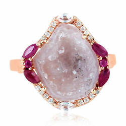 Pink Geode Studded Ruby Diamond And Sapphire 18k Rose Gold Cocktail Ring For Her