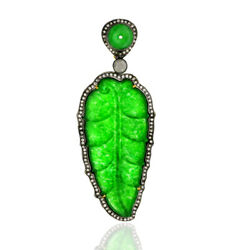 Diamond Carved Green Jade Feather Pendant 18k Gold Sterling Silver Jewelry