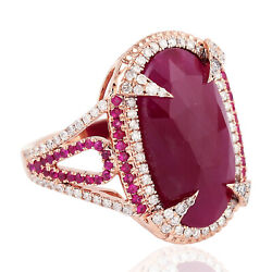 Solid 18k Rose Gold Oval Cut Ruby Pave Diamond Engagement Cocktail Ring For Her
