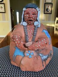 Glen Lafontaine Native American Clay Pottery Sculpture Figure a Cool Summer Day