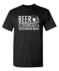 Beer Is Technically A Vegetarian Meal Humor Graphic Novelty Funny T Shirt