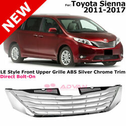 For 11-17 Sienna Le Style Front Grille Radiator Silver Chrome No Cruise Control