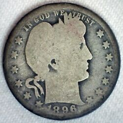 1896 O Silver Barber Quarter Almost Good Circulated 25c Us Coin New Orleans Mint