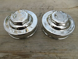 Antique 1920's Triple Chrome Plated Cadillac Standard Of The World Grease Caps