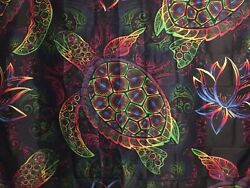 """NEW 60""""x52"""" Colorful Turtle amp; Lotus Gradient Black Tapestry Wall Decor w Clips"""