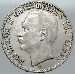 1908 Baden German State Silver W Frederick Ii Eagle W Crown Vintage Coin I87587