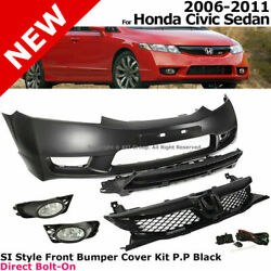 For 06-11 Honda Civic Si Style Complete Front Bumper Fascia Kit Grille Fog Lamp