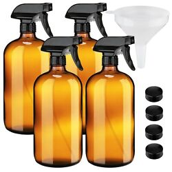 4 Pack Of Large 32oz Amber Glass Spray Bottles With Sprayers And Funnel