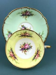 Rare Vtg Eb Foley Rose Floral On Green Yellow Gold Trim Flared Tea Cup And Saucer