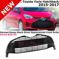 For 15-18 Toyota Yaris Hatchback Bottom Front Lower Grille Glossy Black