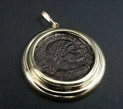 14k Yellow Gold Ancient Roman Coin Pendant 1.5 Free Shipping Pg1304
