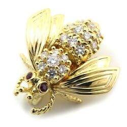 Auth And Co. Brooch Bee Motif 2 Point Ruby Diamond 75018k Yellow Gold